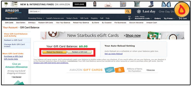 redeem gift cardوreload your balance